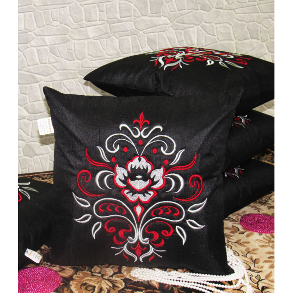 Zikrak Exim Set of 5 Poly Dupion Cushion Covers black contemporary 40X40 cm (16X16)