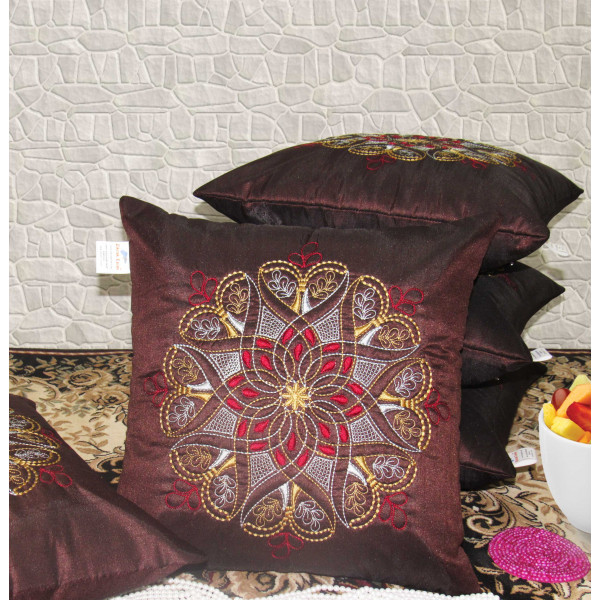 Zikrak Exim Set of 5 Poly Dupion Cushion Covers maroon traditional  40X40 cm (16X16)