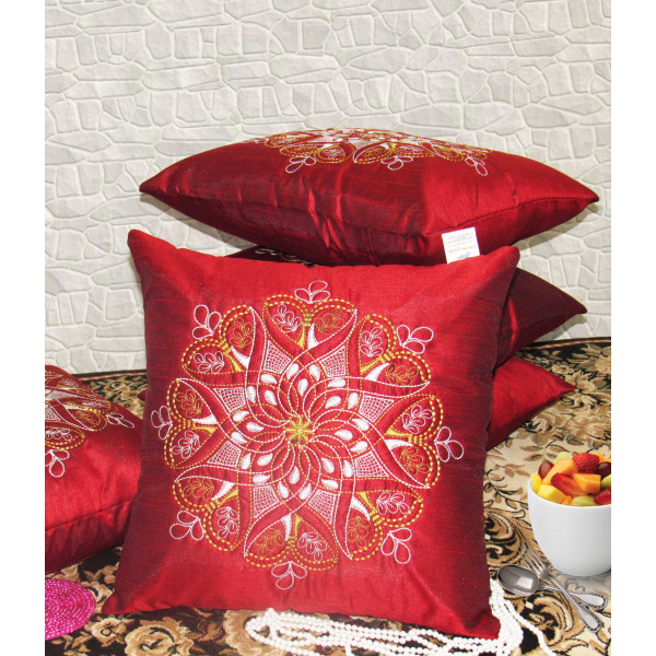Zikrak Exim Set of 5 Poly Dupion Cushion Covers red traditional 40X40 cm (16X16)