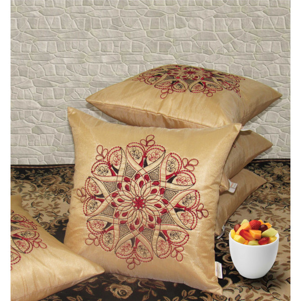 Zikrak Exim Set of 5 Poly Dupion Cushion Covers gold traditional 40X40 cm (16X16)