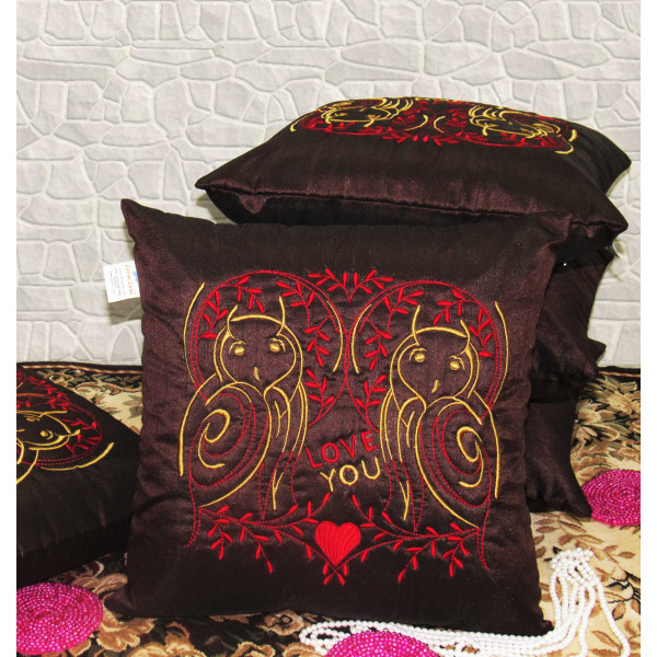 Zikrak Exim Set of 5 Poly Dupion Cushion Covers maroon stylize embroidery  40X40 cm (16X16)