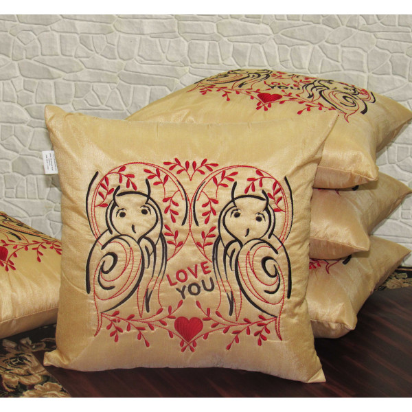 Zikrak Exim Set of 5 Poly Dupion Cushion Covers gold stylize embroidery 40X40 cm (16X16)