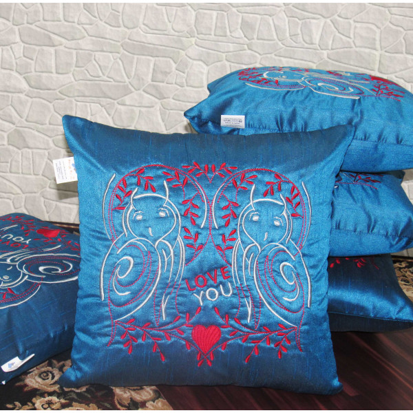 Zikrak Exim Set of 5 Poly Dupion Cushion Covers blue stylize embroidery 40X40 cm (16X16)