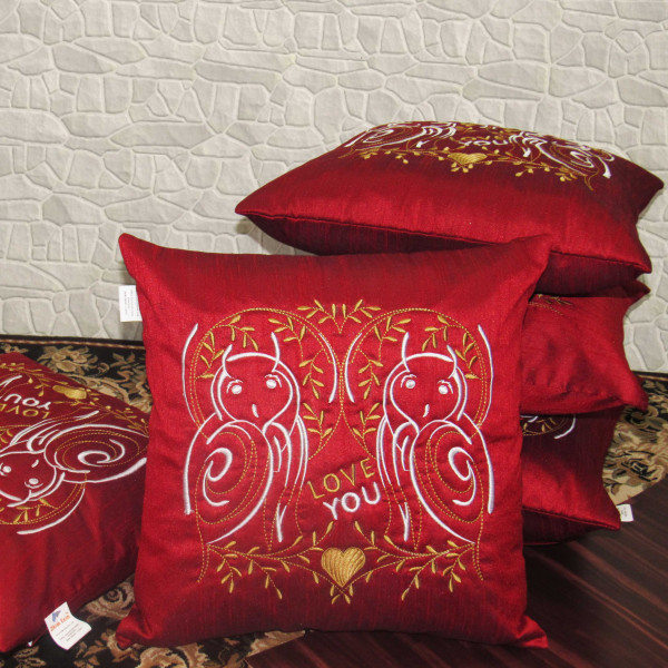 Zikrak Exim Set of 5 Poly Dupion Cushion Covers red stylize embroidery 40X40 cm (16X16)