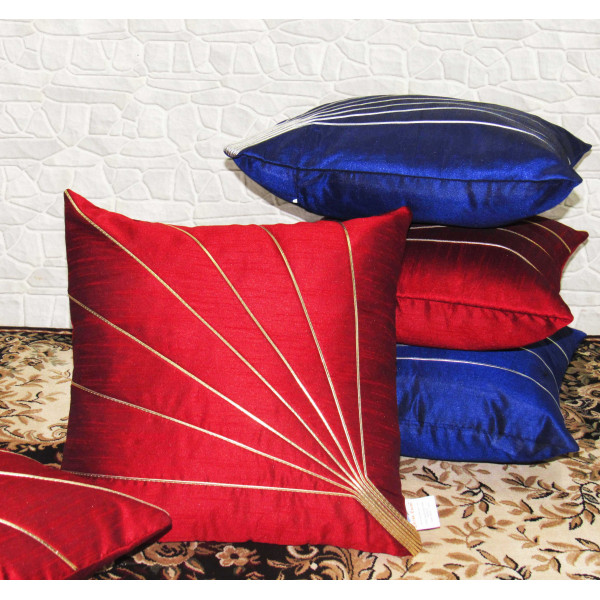 Zikrak Exim Set of 5 Poly Dupion Cushion Covers blue and red couching 40X40 cm (16X16)