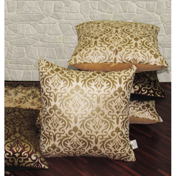 Zikrak Exim Set of 5 Poly Dupion Cushion Covers gold and maroon vintage print 40X40 cm (16X16)