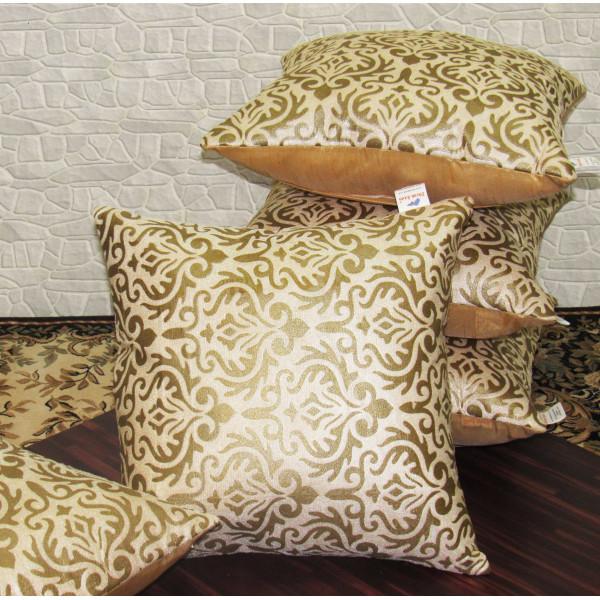 Zikrak Exim Set of 5 Poly Dupion Cushion Covers gold vintage print 40X40 cm (16X16)