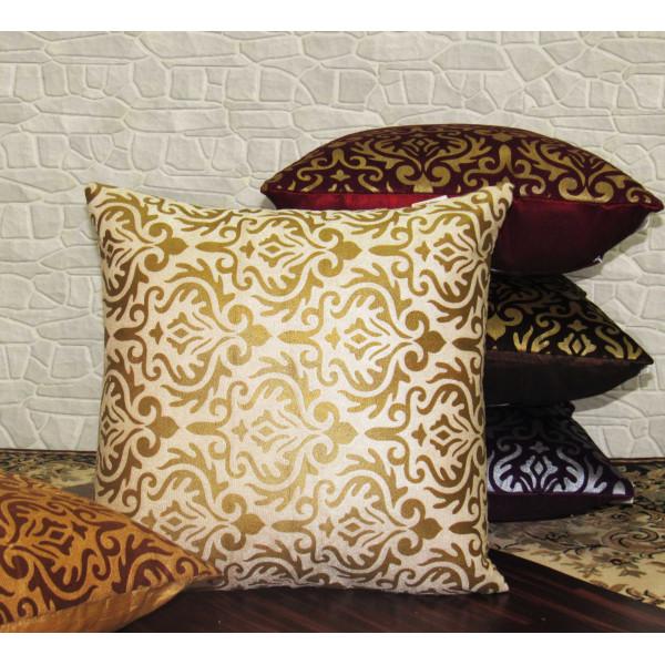 Zikrak Exim Set of 5 Poly Dupion Cushion Covers purple and gold vintage print 40X40 cm (16X16)