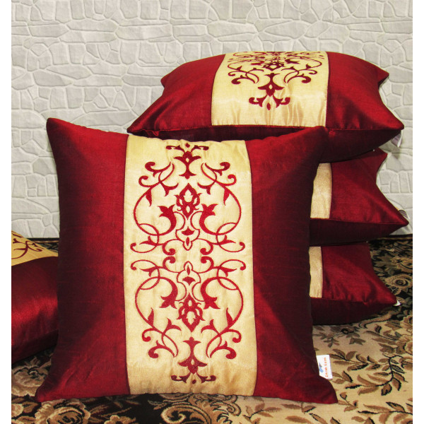 Zikrak Exim Set of 5 Poly Dupion Cushion Covers maroon stripe vintage print 40X40 cm (16X16)