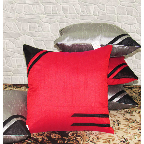 Zikrak Exim Set of 5 Poly Dupion Cushion Covers red and grey solid stripe 40X40 cm (16X16)