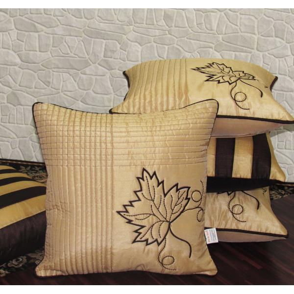 Zikrak Exim Set of 5 Poly Dupion Cushion Covers golden floral outline 40X40 cm (16X16)