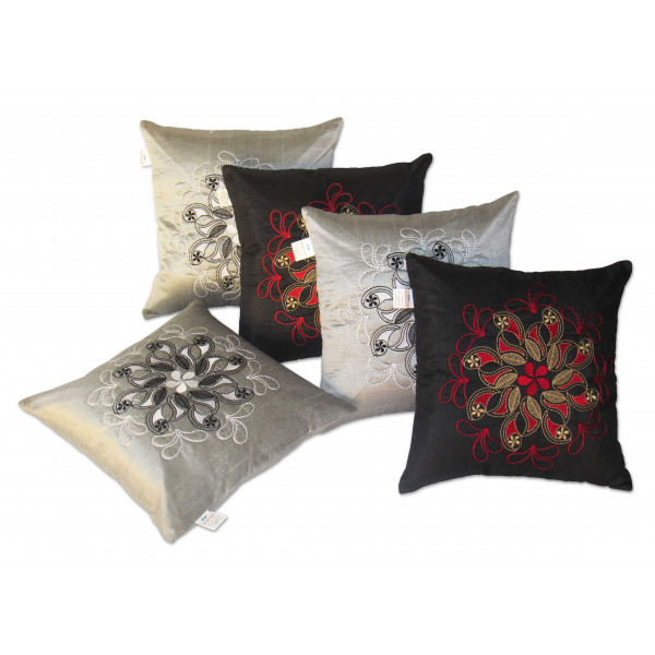 Zikrak Exim Set of 5 Poly Dupion Cushion Covers grey and red embroidery 40X40 cm (16X16)