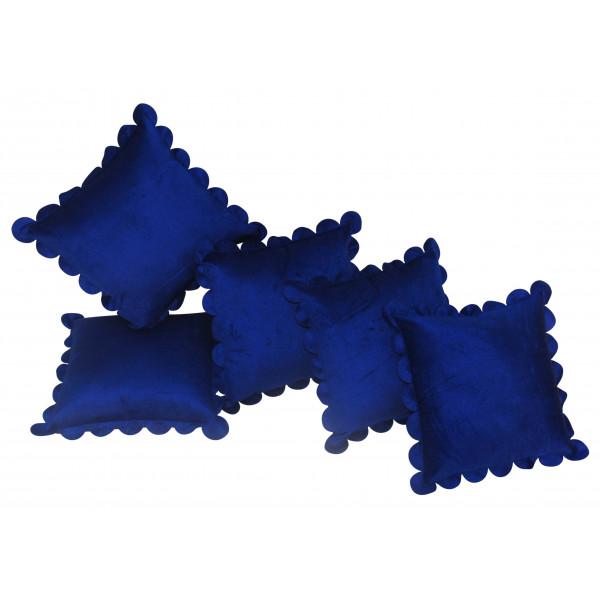 Zikrak Exim Set of 5 Poly Dupion Cushion Covers blue 40X40 cm (16X16)