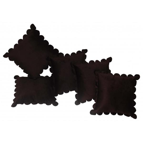 Zikrak Exim Set of 5 Poly Dupion Cushion Covers choco brown 40X40 cm (16X16)