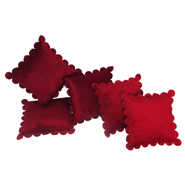 Zikrak Exim Set of 5 Poly Dupion Cushion Covers solid red 40X40 cm (16X16)