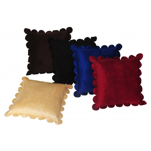 Zikrak Exim Set of 5 Poly Dupion Cushion Covers 40X40 cm solid red and blue mix  (16X16)