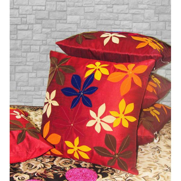 Zikrak Exim Set of 5 Poly Dupion Cushion Covers red floral applique 40X40 cm (16X16)
