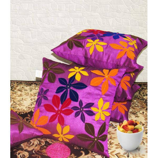 Zikrak Exim Set of 5 Poly Dupion Cushion Covers purple floral applique 40X40 cm (16X16)