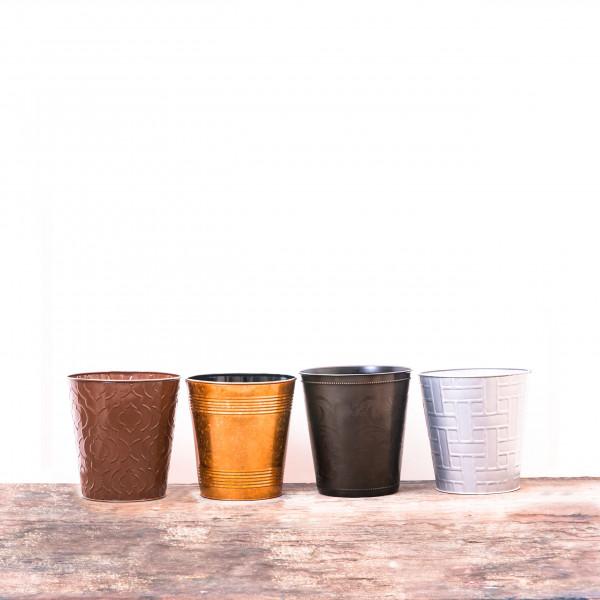 Assorted Embossed Waste Bin Set of 4