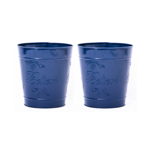 Embossed BlueDelight Waste Bin 9.5 x 10 inches set of 2