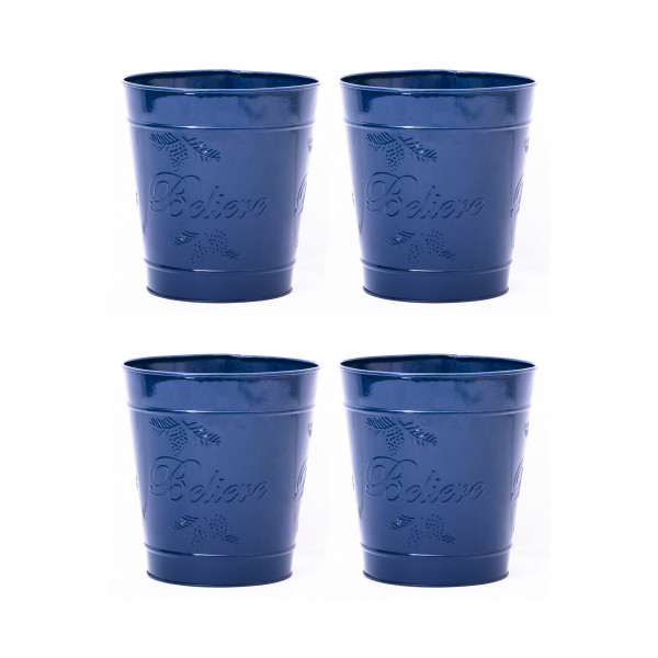 Embossed BlueDelight Waste Bin 9.5 x 10 inches set of 4