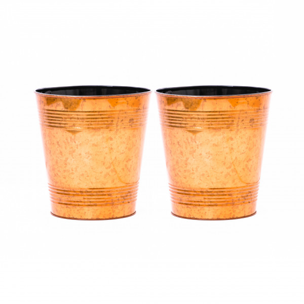Embossed Golden Waste Bin 9.5 x 10 inches set of 2