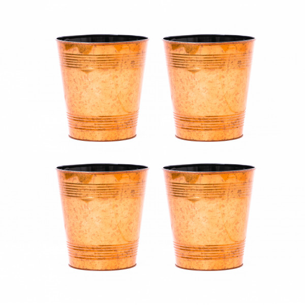 Embossed Golden Waste Bin 9.5 x 10 inches set of 4