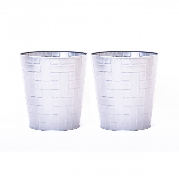 Embossed Geomatric Waste Bin 9.5 x 10 inches set of 2