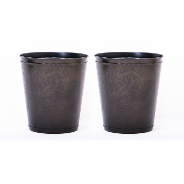 Beaded Lily Stainless Steel Waste Bin 9.5 x 10 inches set of 2