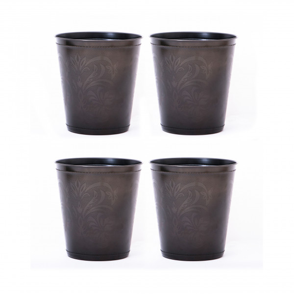 Beaded Lily Stainless Steel Waste Bin 9.5 x 10 inches set of 4