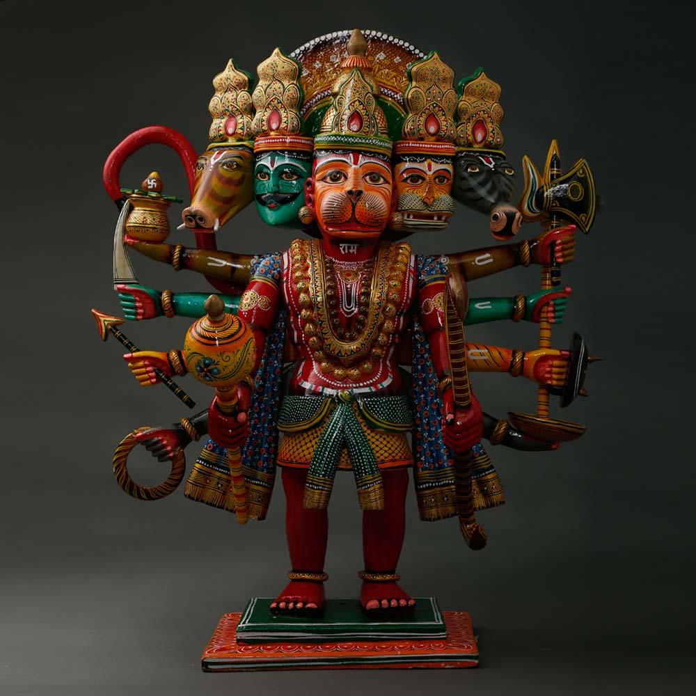 Wooden Hanuman  Panch Mukhi Murti