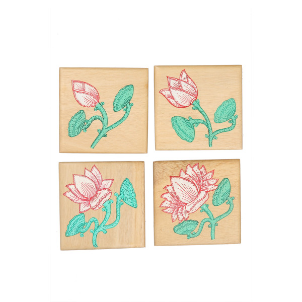Direct Create Wood Natural Pattachitra Floral Coaster