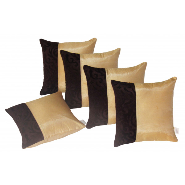 Zikrak Exim Set of 5 Poly Dupion Cushion Covers gold and black 40X40 cm (16X16)
