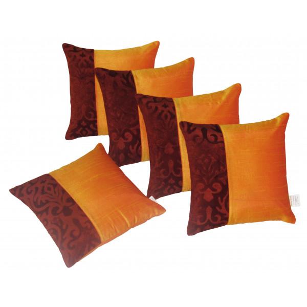Zikrak Exim Set of 5 Poly Dupion Cushion Covers orange and black 40X40 cm (16X16)