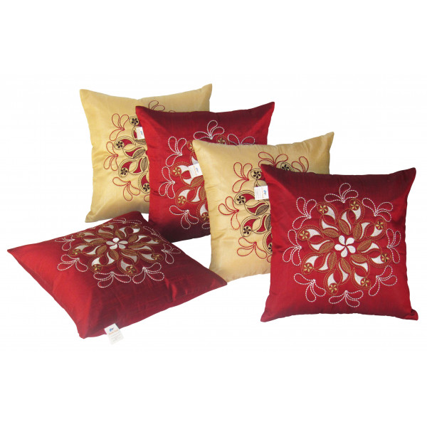 Zikrak Exim Set of 5 Poly Dupion Cushion Covers gold and red embroidery 40X40 cm (16X16)