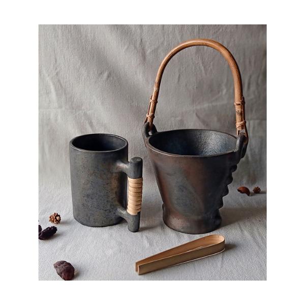 Longpi Black Pottery Ice Bucket Large
