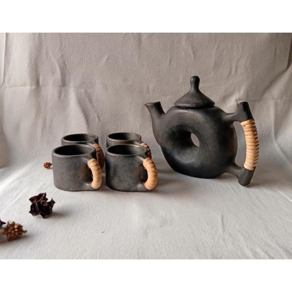 Longpi Black Pottery Teapot-Cups Set