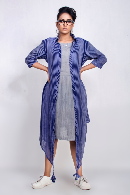 100% cotton handwoven Short dress with shrug ensemble