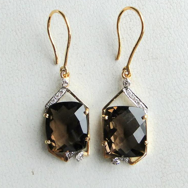 14 K Solid Gold Smoky Topaz & Diamond Stone Earring