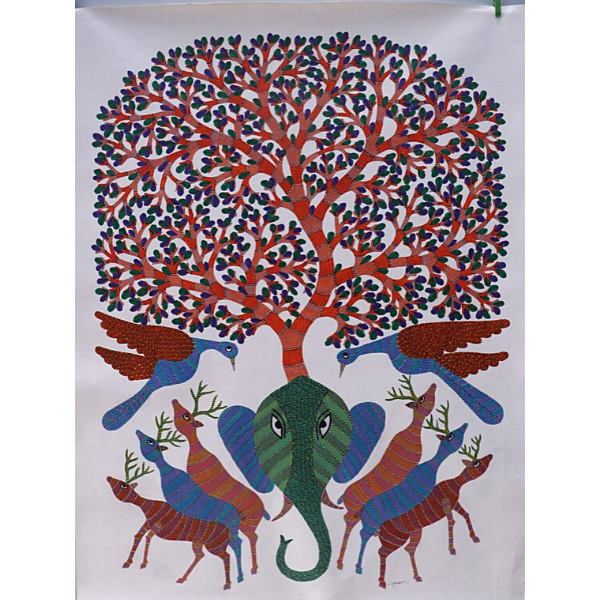 Vijay Shyam Tribal Gond Painting (48 x 36)'' -