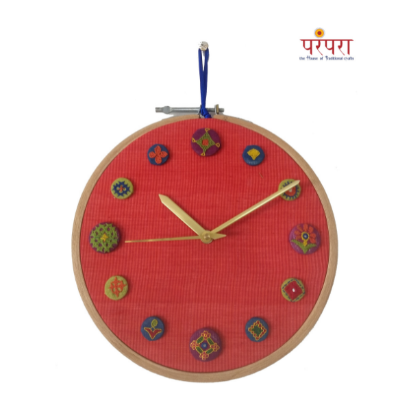 hand embroidered wall clocks