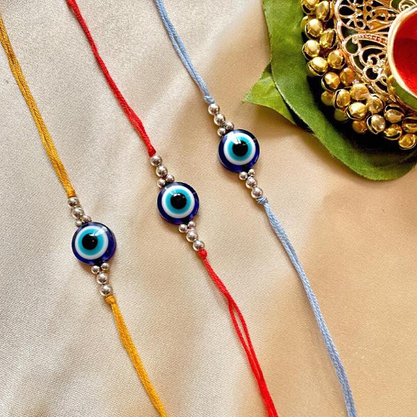 Trending Evil Eye Rakhis in colourful cotton threads
