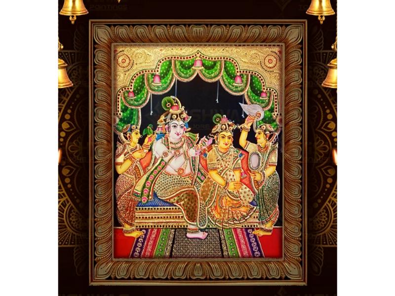 Radha-Krishna Tanjore Painting with Frame (28x40)