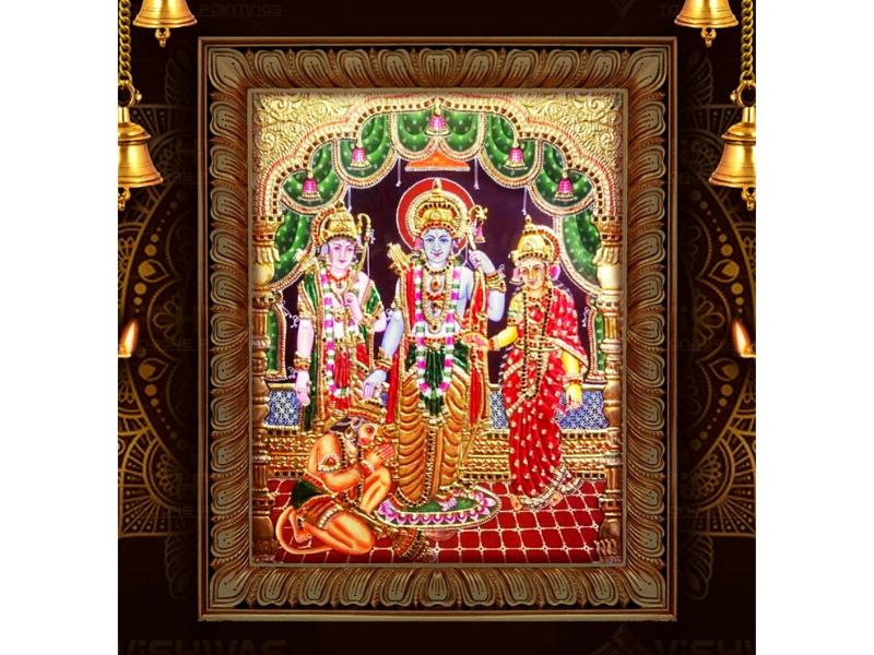 Ram-Seeta-Lakshman-Hanuman Tanjore Painting with Frame (28x40)