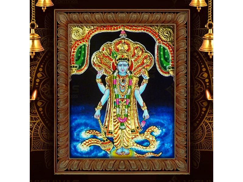 Lord Vishnu Tanjore Painting with Frame (28x40)