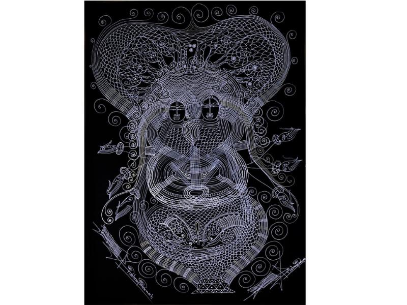 Shri Vishnu Lakshmi Ji (Line Art)