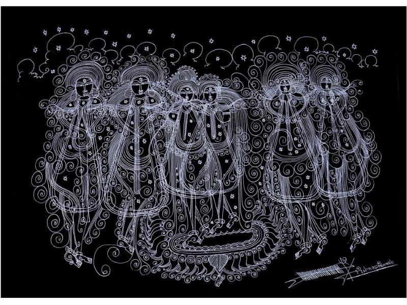 Radha Krishna Gopi (Line Art)