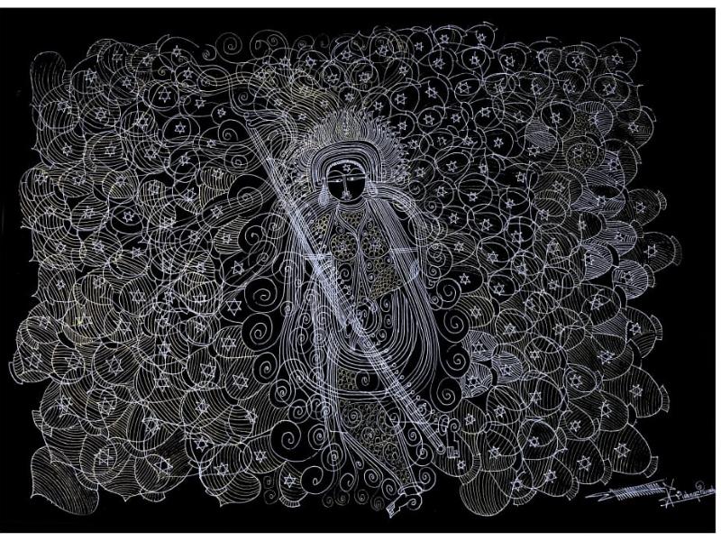 Veena Saraswati (Line Art)