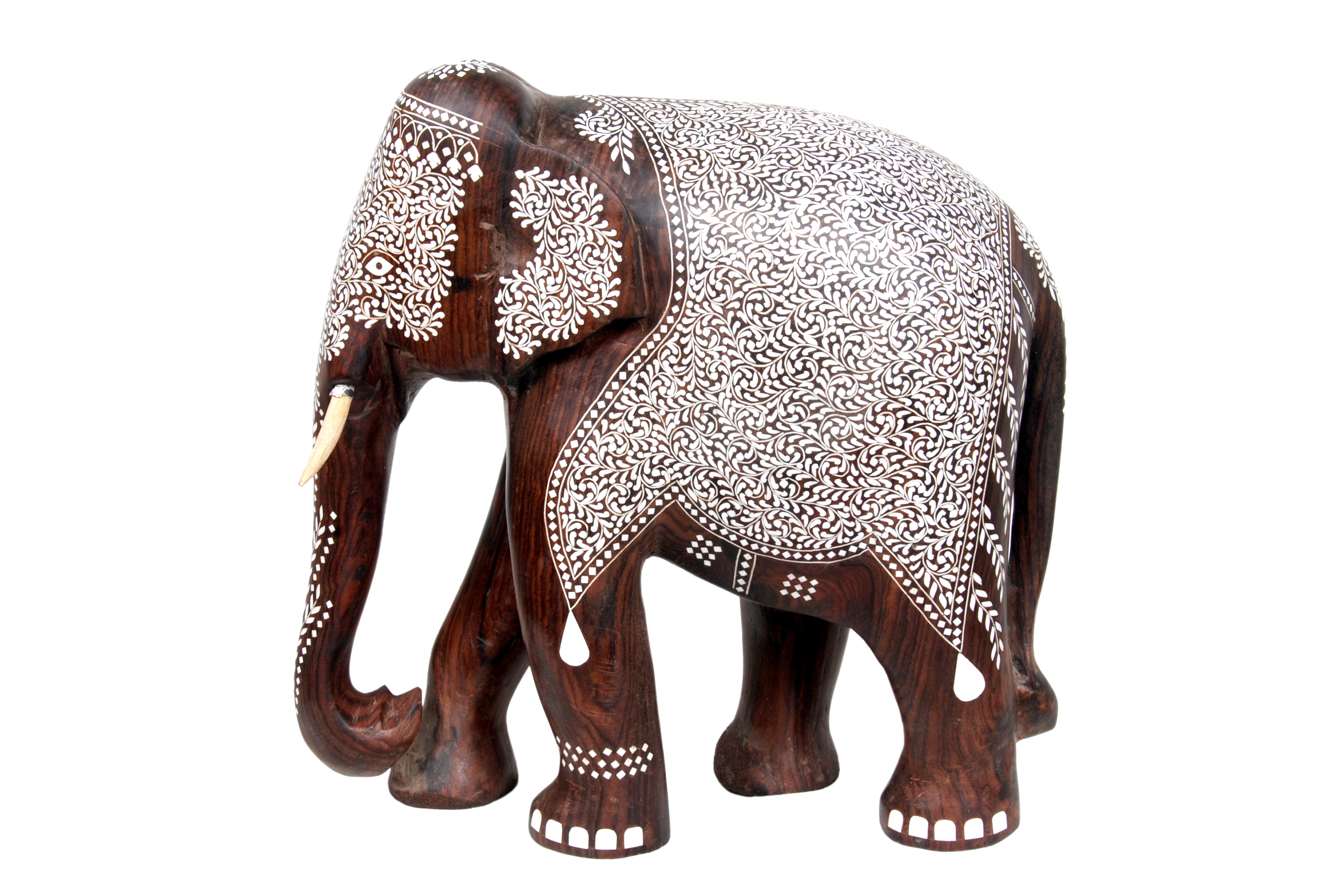 wooden elephant fine inlay works.