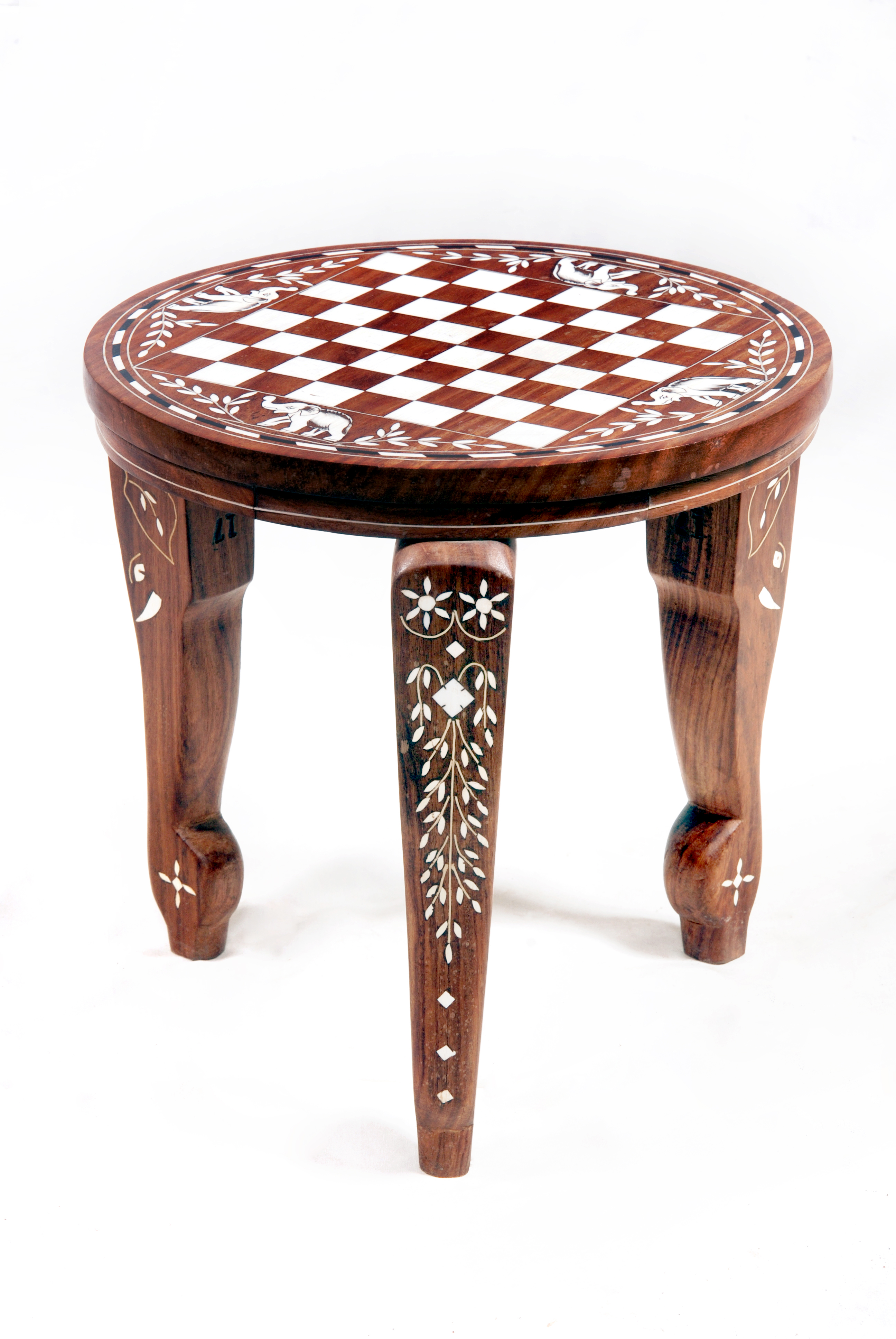 wooden round chess table with fine inlay natural